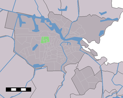 Location of Bos en Lommer (green) in Amsterdam