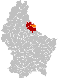 Map of Luxembourg with Vianden highlighted in orange, the district in dark grey, and the canton in dark red