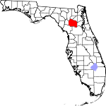 A state map highlighting Alachua County in the corner part of the state. It is medium in size.