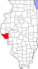Map of Illinois highlighting Pike County