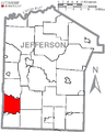 Map of Jefferson County, Pennsylvania Highlighting Ringgold Township.PNG