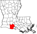 State map highlighting Vermilion Parish