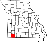 Map of Missouri highlighting Barry County