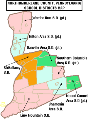 Shamokin, Pennsylvania - Map of Northumberland County, Pennsylvania public school districts