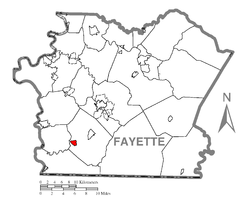Location of Smithfield in Fayette County
