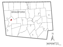 Map of Bradford County with Troy highlighted