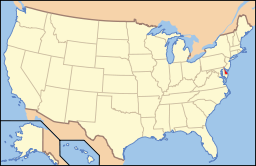 Location of Delaware in the United States