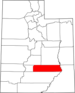 map of Utah highlighting Wayne County
