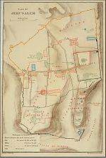 מפת היסטורית של ירושלים, החקרא (למטה מימין) מזוהה עם עיר דוד