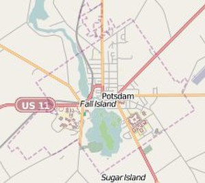 Potsdam (village), New York - Image: Map thumbnail of Potsdam, New York from OSM