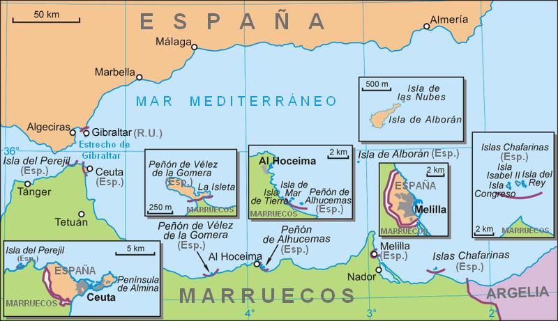 Mapa del sur de España
