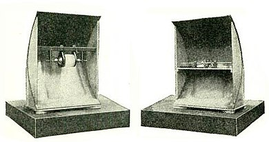 1.2 GHz microwave spark transmitter (left) and coherer receiver (right) used by Guglielmo Marconi during his 1895 experiments had a range of 6.5 km (4.0 mi) Marconi parabolic xmtr and rcvr 1895.jpg