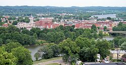 Downtown Marietta in July 2007, including the Muskingum River (foreground) and the Ohio River (background right)