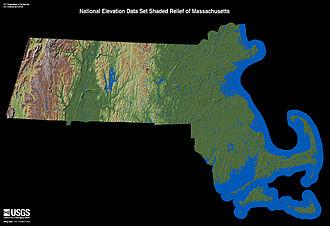 Geography of Massachusetts - Image: Massachusetts Relief 1