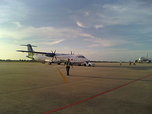 MASwings - MASwings ATR 72-500 getting ready for departure in Bintulu Airport.