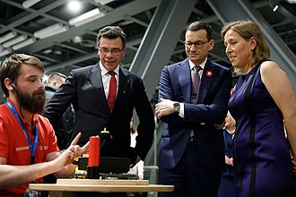 Susan Wojcicki - Wojcicki next to Polish Prime Minister Mateusz Morawiecki in Warsaw, Poland, 11 November 2018