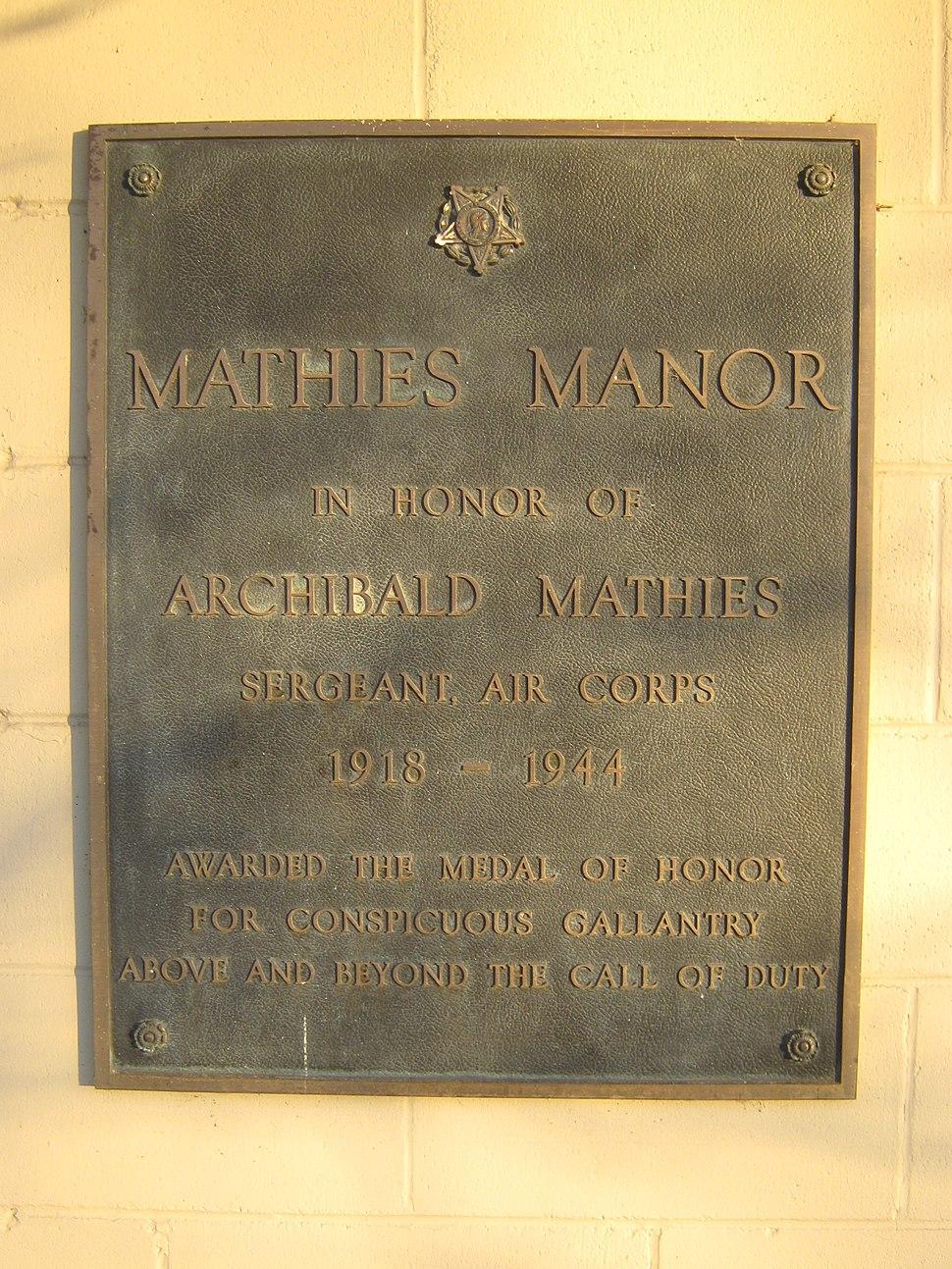 Mathies Manor plaque 02