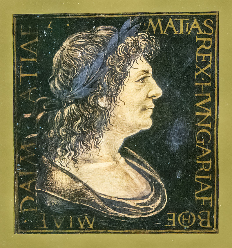 I. Mátyás arcképe egy corvina miniatúráján