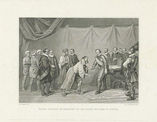 Maurits ontvangt de afgezanten van de sultan van Atjeh, 1602 Maurits ontvangt de afgezanten van den sultan van Achem op Sumatra (titel op object), RP-P-OB-73.729