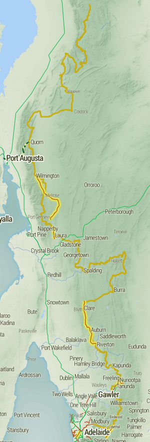 Mawson Trail - Image: Mawson Trail map Stevage
