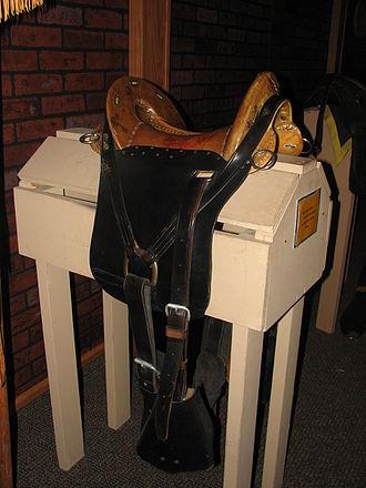 McClellan saddle - M1859 McClellan saddle of the Civil War period, displaying its rawhide seat covering. Fort Kearny State Park and Museum, Nebraska