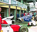 Mclaren and Williams pits at the 1994 British Grand Prix (31697631894).jpg