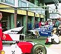 Mclaren and Williams pits at the 1994 British Grand Prix (31697631894).jpg