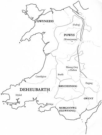 Wales in the Middle Ages - Medieval kingdoms of Wales shown within the boundaries of the present day country of Wales and not inclusive of all