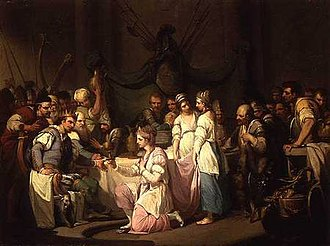 Vortigern - The First Meeting of Vortigern and Rowena painted by William Hamilton