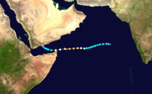 A track map of Extremely Severe Cyclonic Storm Megh (05A) during early November