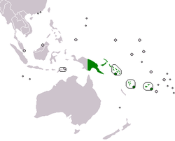 Map indicating the membership of the Melanesian Spearhead Group.