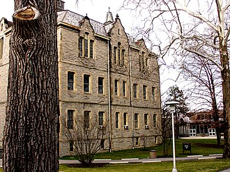 History of Ohio Wesleyan University - Merrick Hall, built in 1873, features Greek Revival architecture.