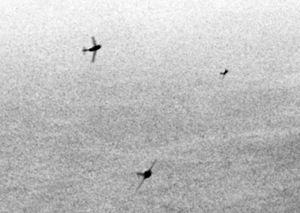 Soviet Union in the Korean War - Soviet MiG-15s curving in to attack USAF B-29s, Korea 1951.
