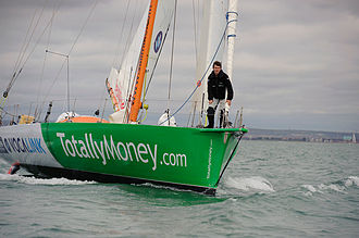 Michael Perham - Perham aboard his boat before setting off on his around-the-world attempt, 15 November 2008