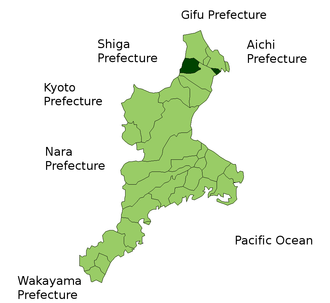 Mie District, Mie - Location of Mie District in Mie Prefecture