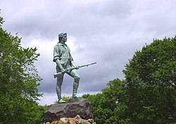Statue of Captain John Parker of the Lexington Militia on Lexington Green, by H. H. Kitson.
