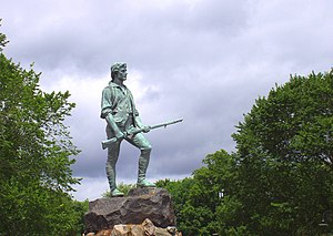 Lexington, Massachusetts - Statue of Captain John Parker and Hayes Memorial Fountain on Lexington Common, by H. H. Kitson