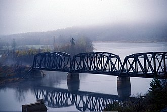 Miramichi River - The abandoned Canada Eastern Railway bridge over the Southwest Miramichi River at Doaktown.