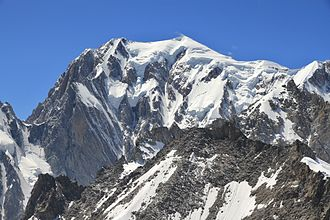 Western Alps - Mont Blanc, the highest summit of the Western Alps, as seen from Aosta Valley, Italy
