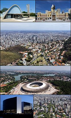 Top left:Church of St. Francis of Assisi, Top right:Rui Barbosa Square (Praça Rui Barbosa), 2nd:Panorama view of Belo Horizonte, from Mangabeiras area, 3rd:Magalhaes Pinto Stadium, Bottom left:Administrative City President Tancredo Neves, Bottom right:Praça da Liberdade (Belo Horizonte Liberty Square)
