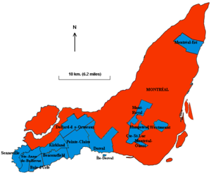 Boroughs of Montreal - Island of Montreal now: City of Montreal (366 km²) and 15 independent municipalities