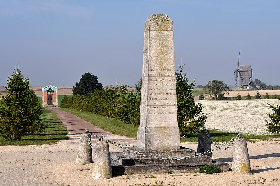Valmy; windmill chapel of Princess Henriette Ginetti and obelisk in which lays the heart of Marshal François Christophe Kellermann; Marne, France.