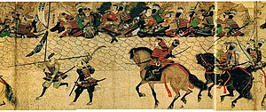 Horses in warfare - Arriving Japanese samurai prepares to man the fortification against invaders of the Mongol invasions of Japan, painted c. 1293 AD. By this time, a medium-weight horse was used.