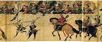 Samurai and defensive wall at Hakata. Moko Shurai Ekotoba, (蒙古襲来絵詞) c.1293.