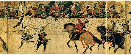 Arriving Japanese samurai prepares to man the fortification against invaders of the Mongol invasions of Japan, painted c. 1293 AD. By this time, a medium-weight horse was used. Mooko-HakataWall.jpg