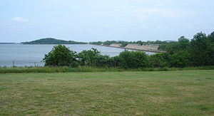 Moon Island (Massachusetts) - Moon Island and its causeway as seen from Squantum