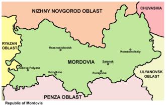 Mordovia - Map of the Republic of Mordovia