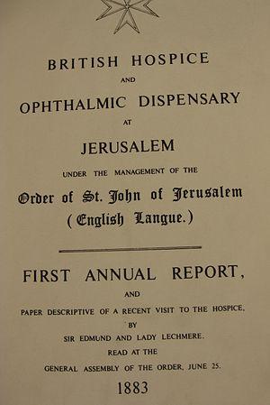 Saint John Eye Hospital Group - The hospital's first annual report 1883