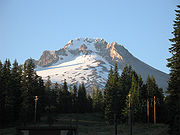Mount Hood seen from the south. Crater Rock, the remnants of a 200-year-old lava dome, is visible just below the summit.