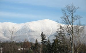 Mount Washington (New Hampshire) - Mount Washington, from Bretton Woods. The cog railway track is visible, on the spur to the left of the summit.
